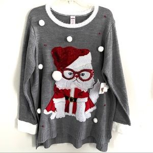 Sweaters - NWT Christmas Sweater Catitude Cat Plus Size